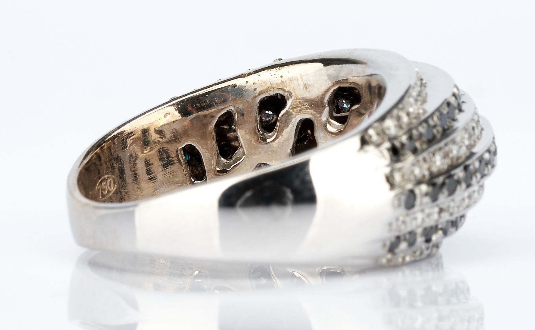 Lot 437: Ladies Gold & Black Diamond Necklace and Ring