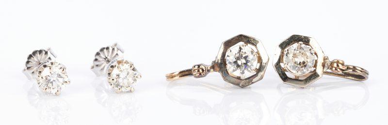 Lot 438: 2 Ladies Pairs of Diamond and Gemstone Earrings