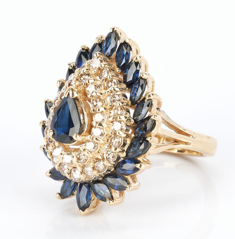 Lot 439: Ladies Sapphire & Diamond Teardrop Dinner Ring