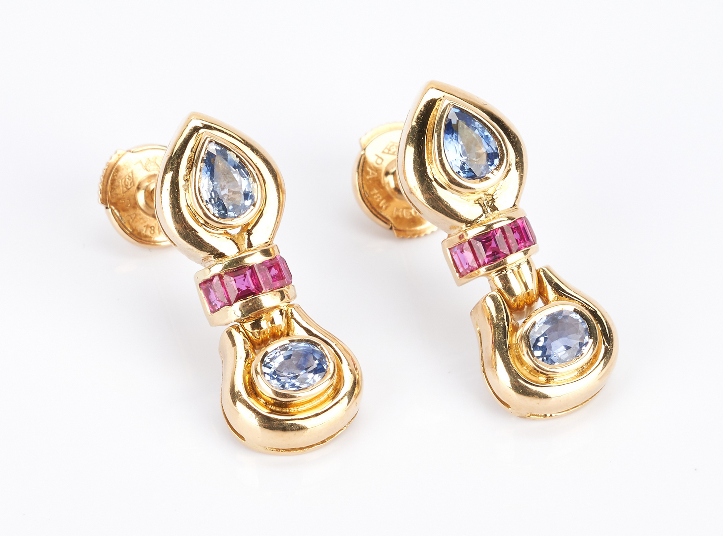 Lot 442: Mecan Elde 18K Sapphire and Ruby Earrings