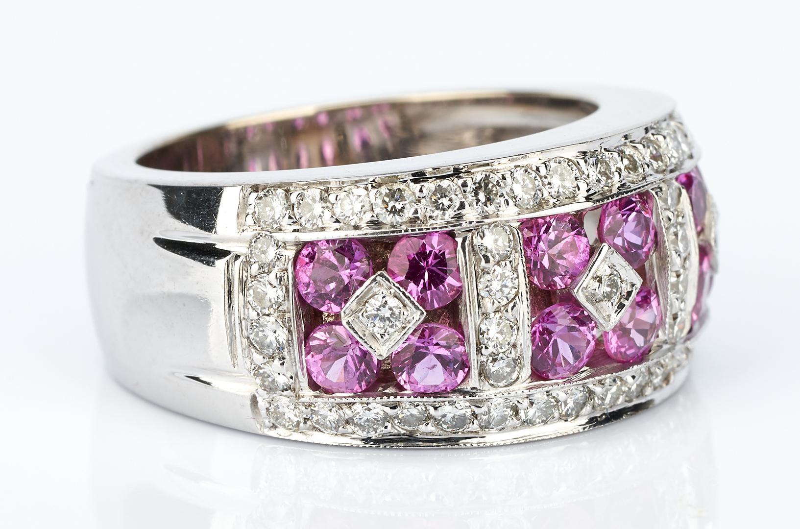 Lot 446: Ladies 18K White Gold Sapphire & Diamond Ring