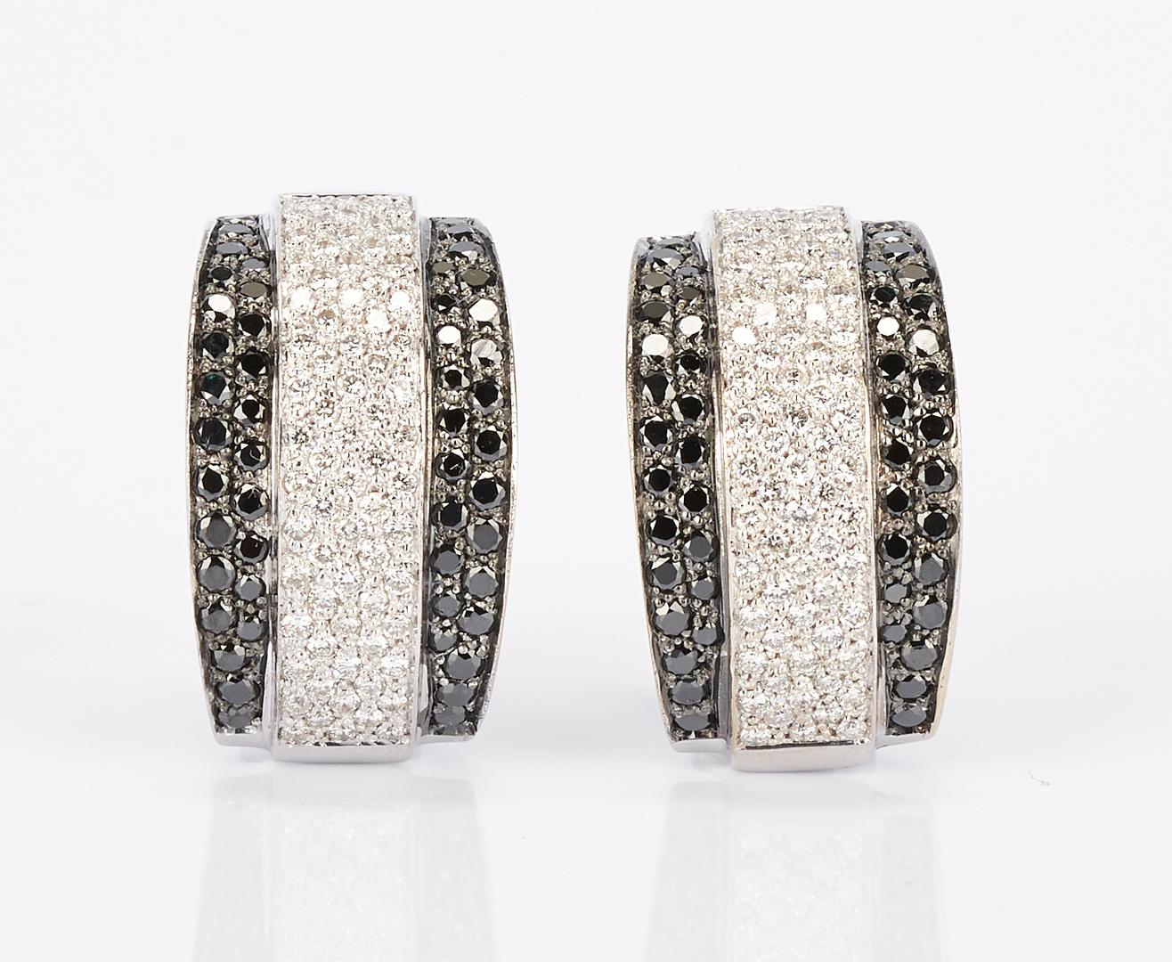 Lot 447: Ladies 18K White Gold & Diamond Hoop Earrings