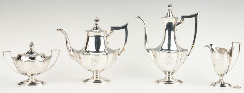 Lot 448: 4 pcs Gorham Plymouth Sterling tea set