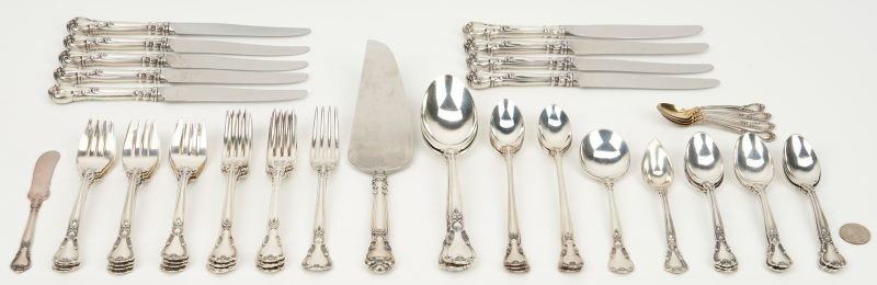 Lot 449: 56 Pcs. Gorham Chantilly Sterling Silver Flatware