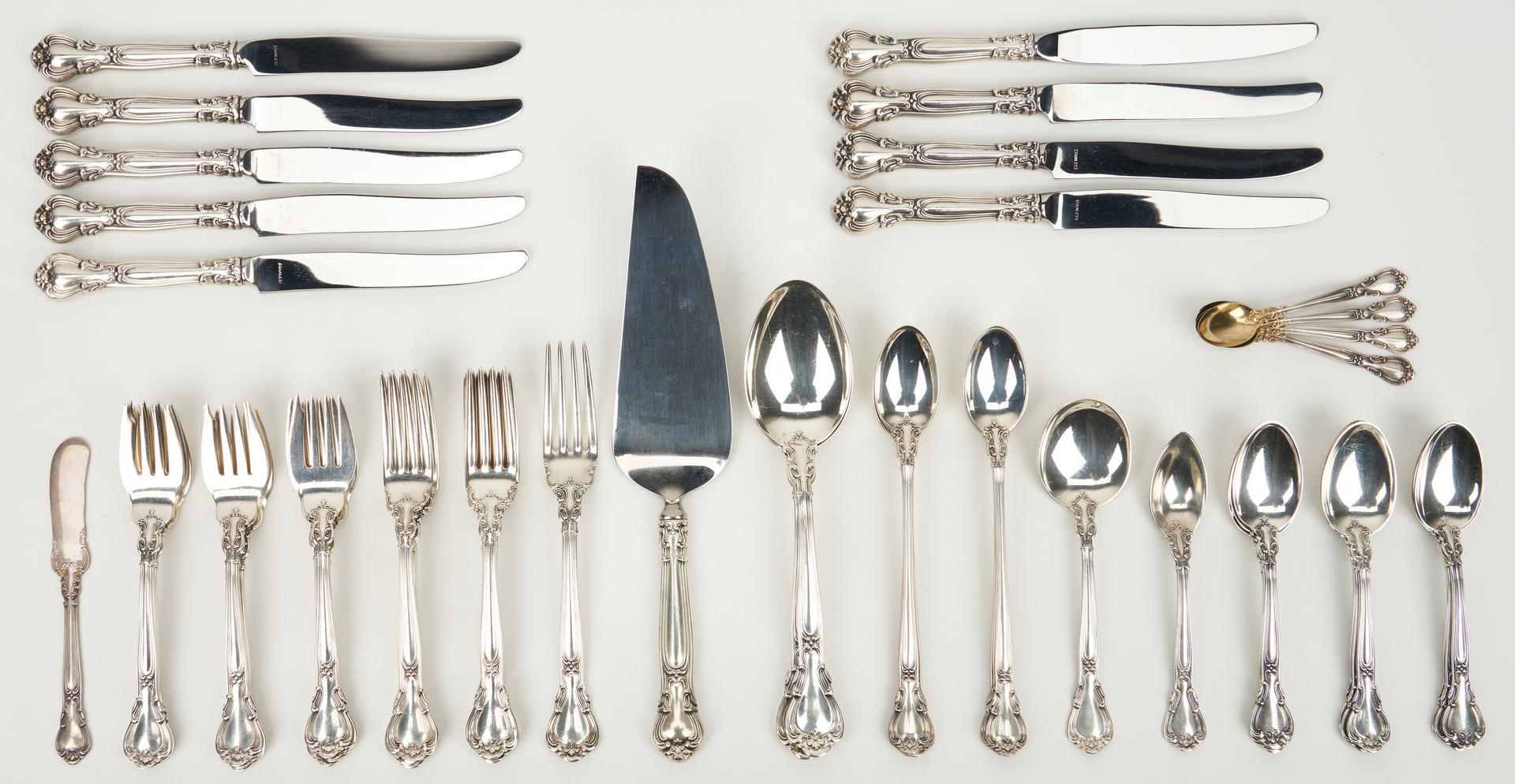 Lot 449: 56 Pcs. Gorham Chantilly Sterling Silver Flatware