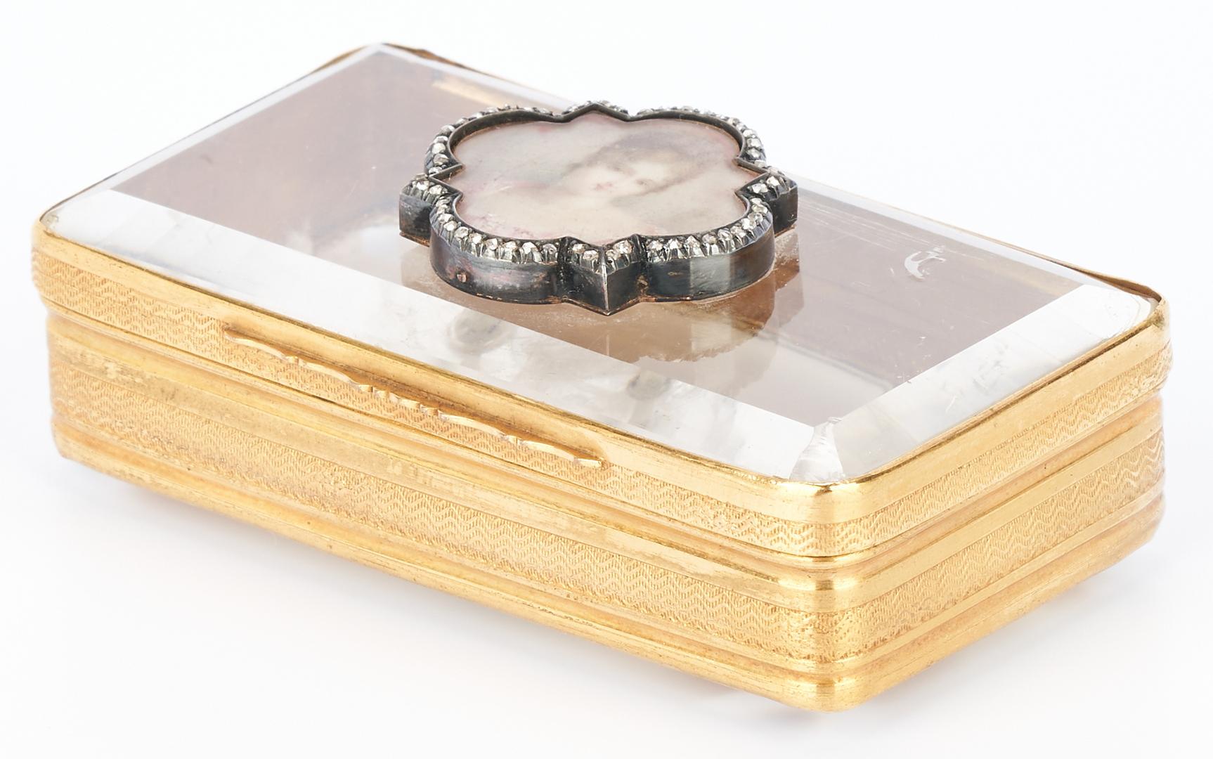 Lot 44: 14K Gold, Diamond, and Quartz Snuff or Pill Box