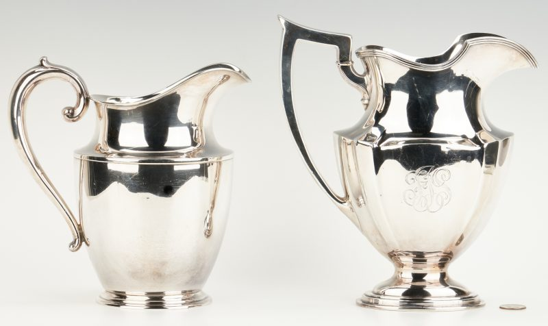Lot 450: 2 Sterling Water Pitchers, Gorham and Wallace