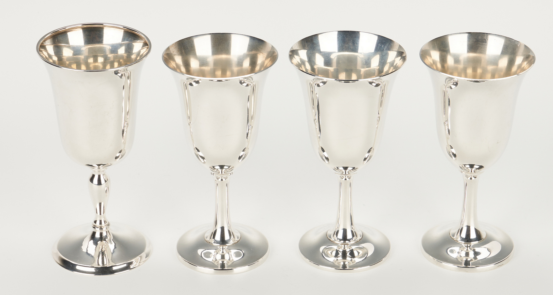 Lot 453: 10 Sterling Goblets, Water and Wine
