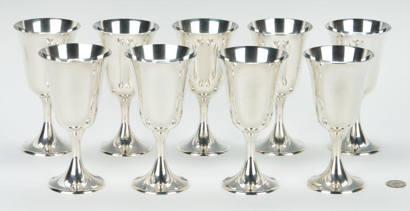 Lot 455: 9 Gorham Sterling Silver Goblets