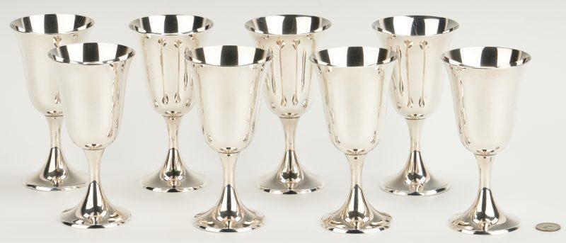Lot 458: Set of 8  Gorham Sterling Goblets