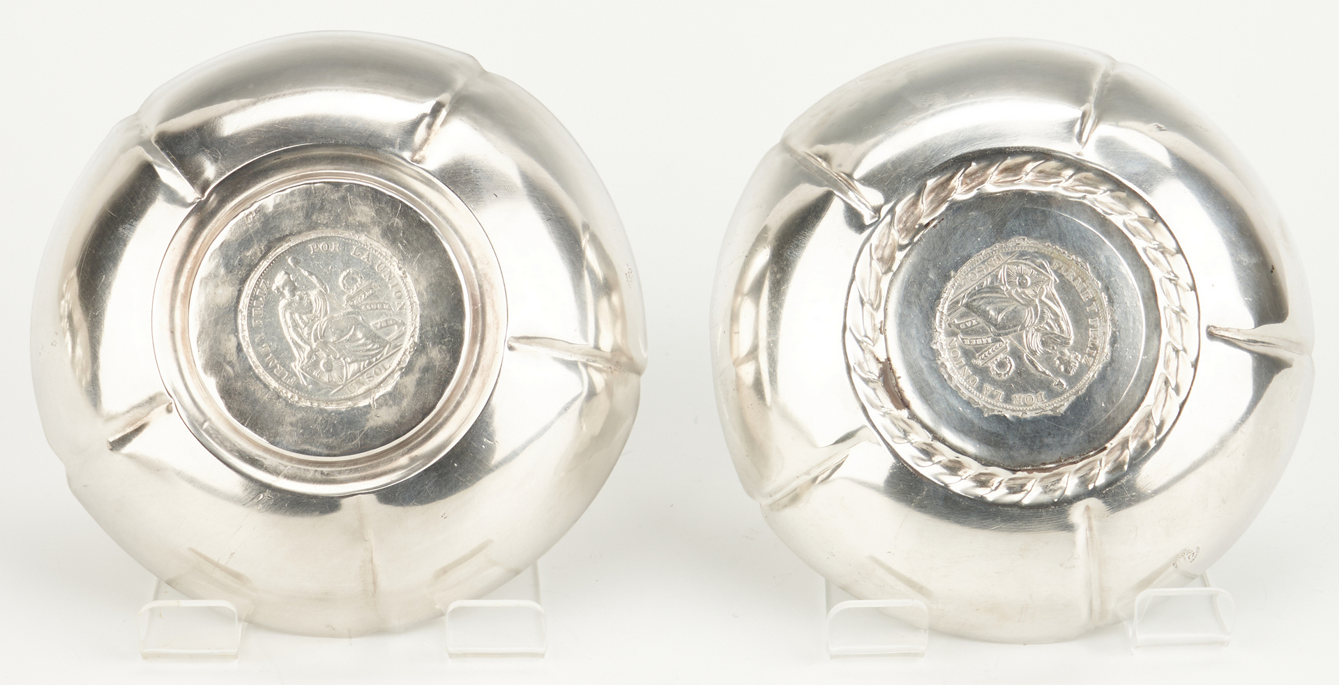 Lot 459: 8 Sterling Hollowware Items incl. coin-inset bowls