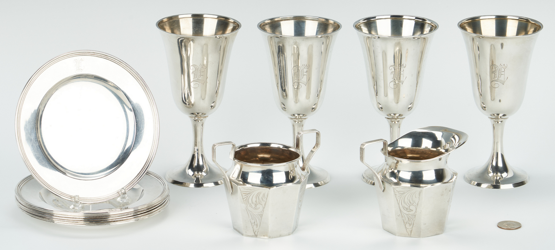 Lot 460: 14 Pcs. Sterling Silver, incl. Goblets, Plates