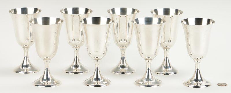 Lot 463: 8 Amston Sterling Silver Goblets