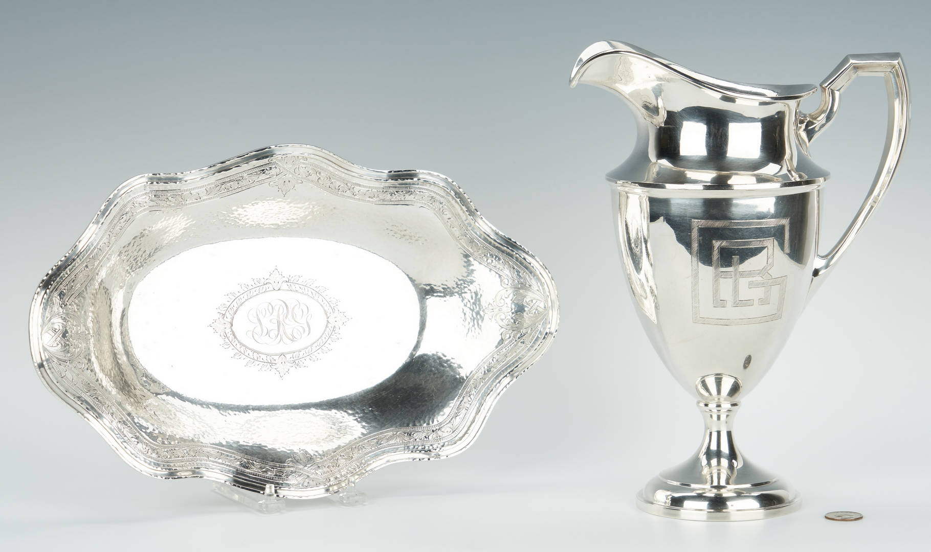 Lot 467: Art Deco Sterling Silver Pitcher and Bread Tray