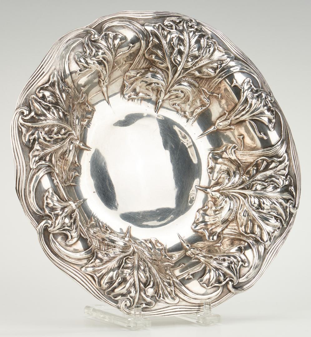 Lot 468: Art Nouveau Silver Bowl, Repousse Tray & 2 Tazzas