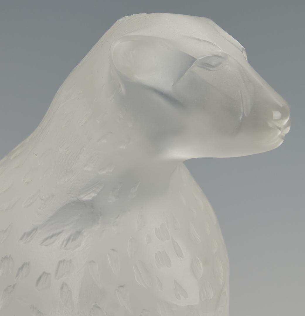 Lot 475: Lalique Tancrede Crystal Cheetah on Rocks
