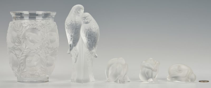 Lot 477: 3 Lalique Nude Figures, Parakeets, & Bagatelle Vase
