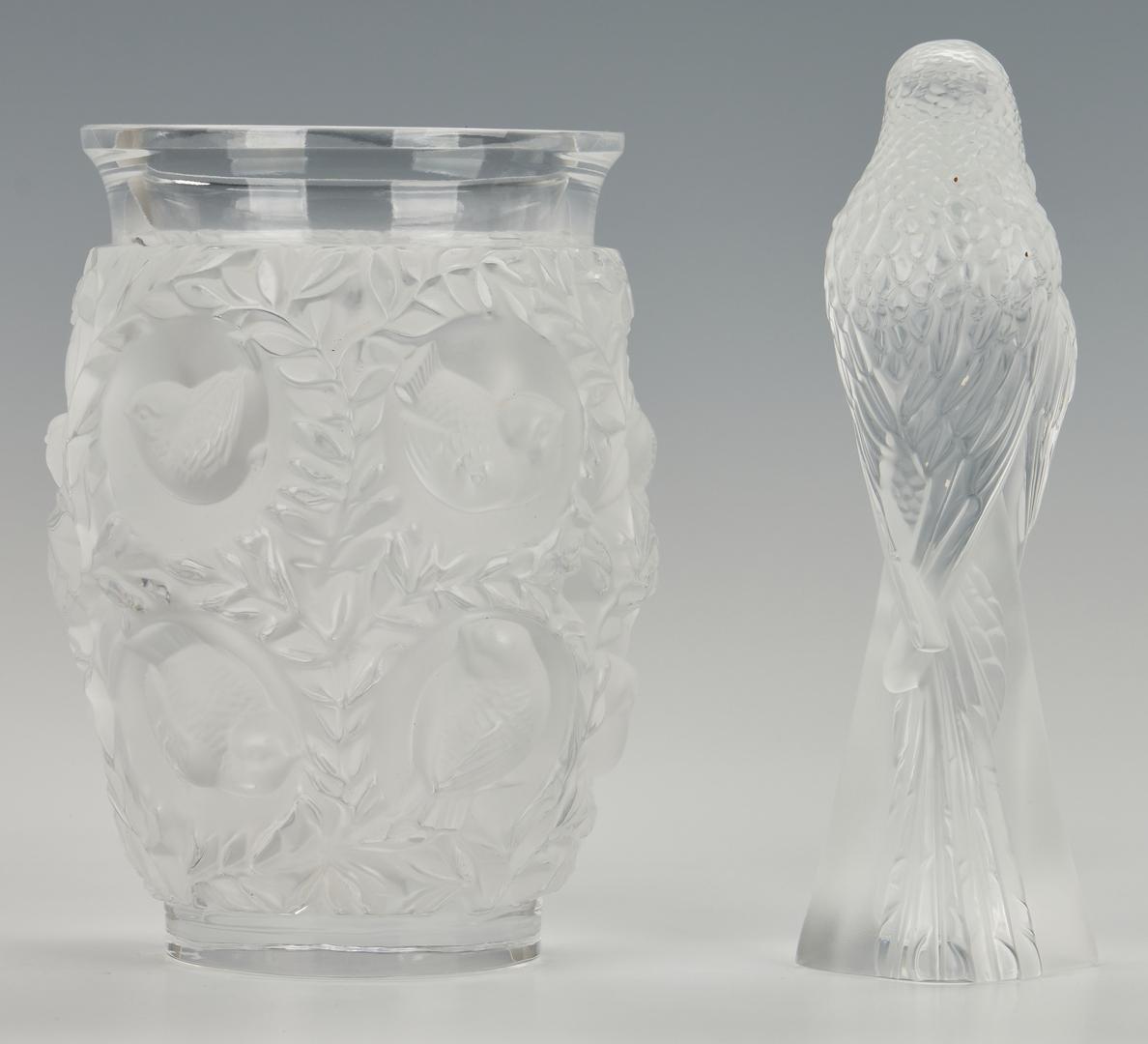 Lot 477: 3 Lalique Nude Figures, Parakeets, & Bagatelle Vase