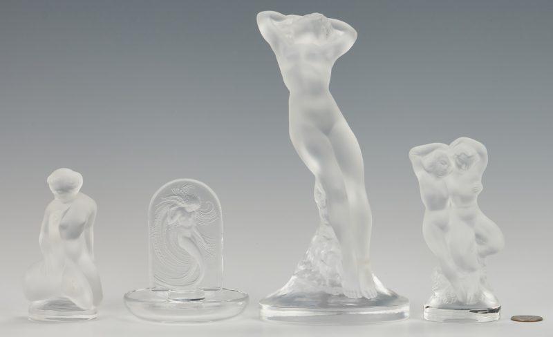 Lot 478: 4 Lalique Nude Female Figures