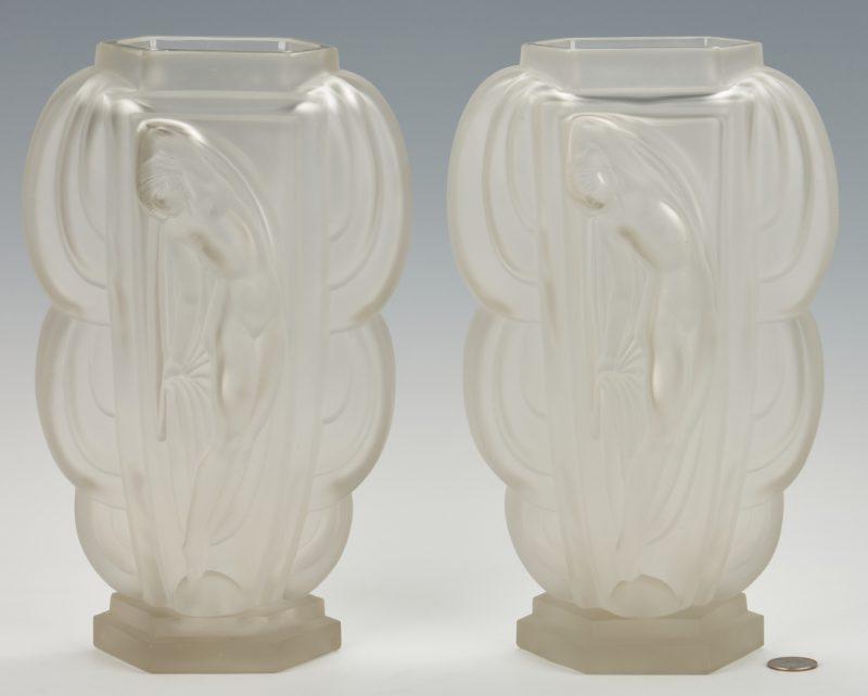 Lot 479: Pair French Etling Art Deco Glass Vases