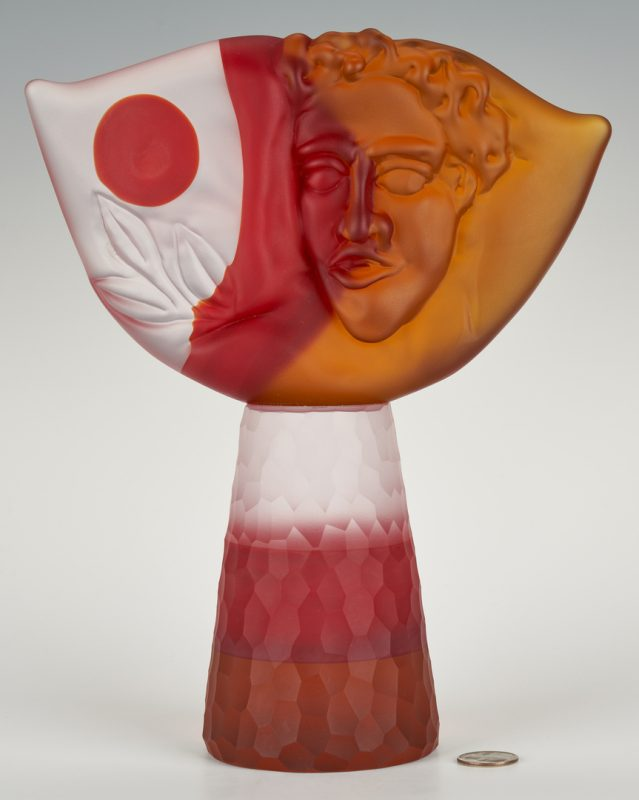 "Lot 488: Richard Jolley Art Glass ""Tabula Rasa"" Sculpture"