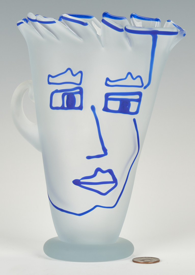Lot 490: Richard Jolley Art Glass Vase or Pitcher w/ Face