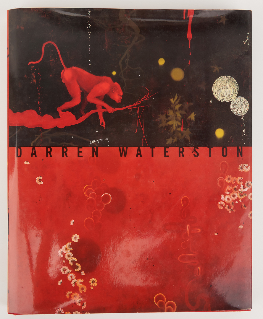 "Lot 502: Darren Waterston O/C painting, ""Offering,"" with books"