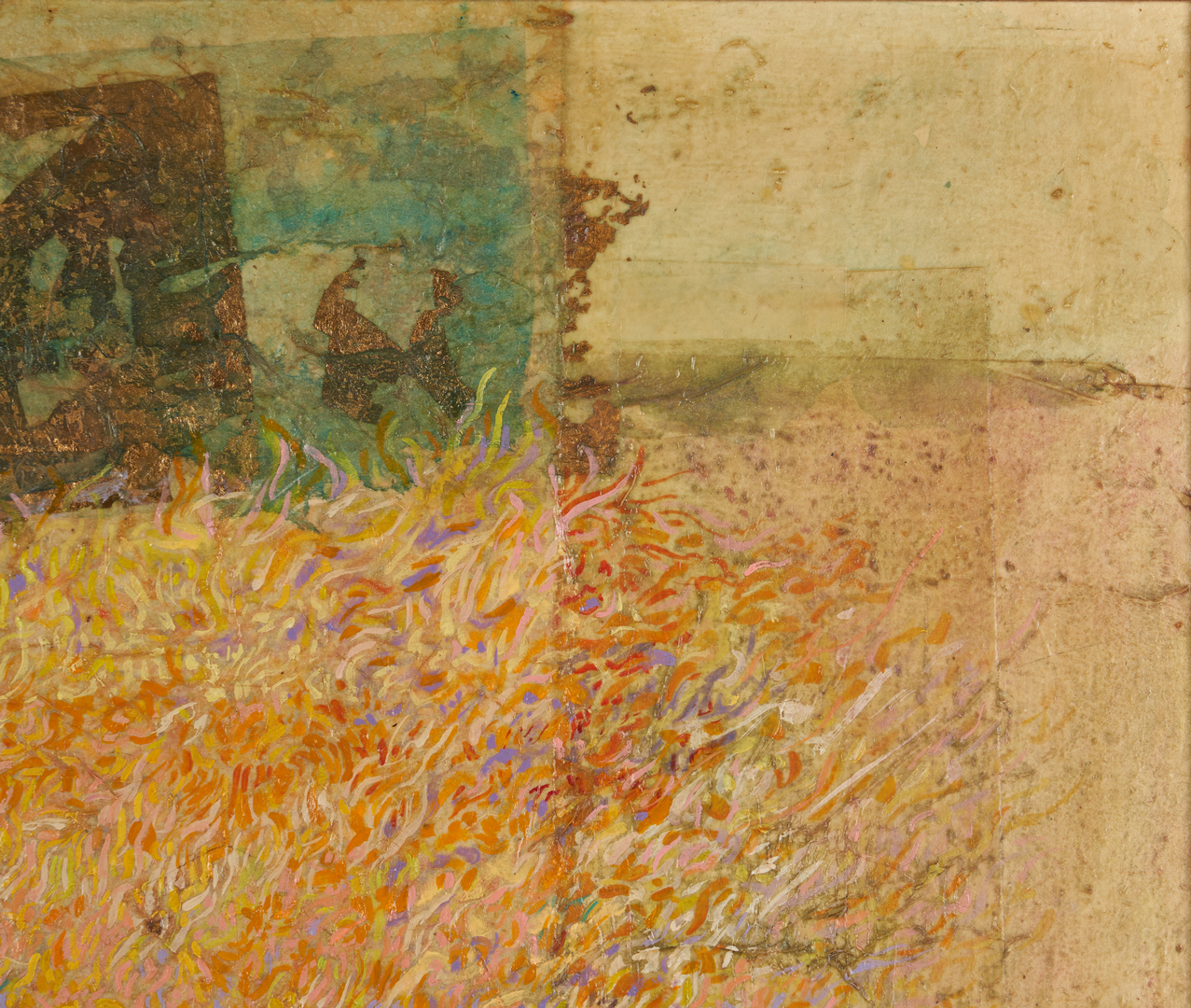 Lot 504: Mixed Media Abstract Painting, signed