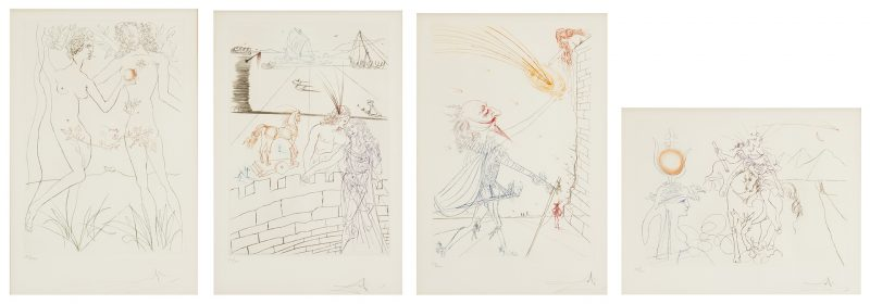Lot 511: 4 Salvador Dali Engravings, Famous Loves Series
