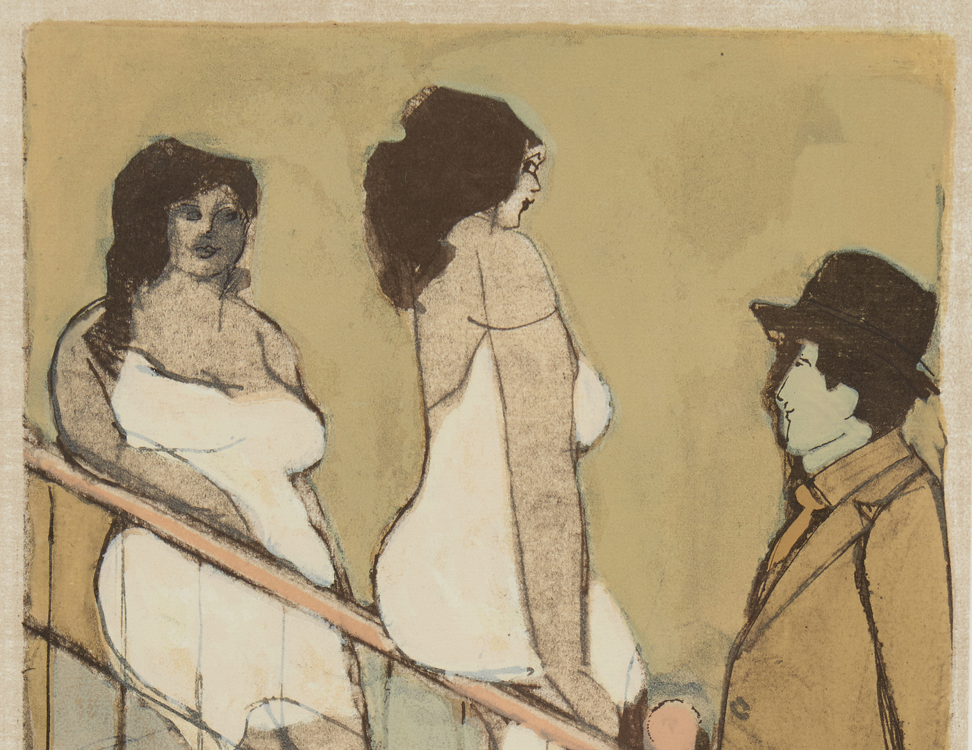 Lot 517: David Schneuer Lithograph, Women on Stairs