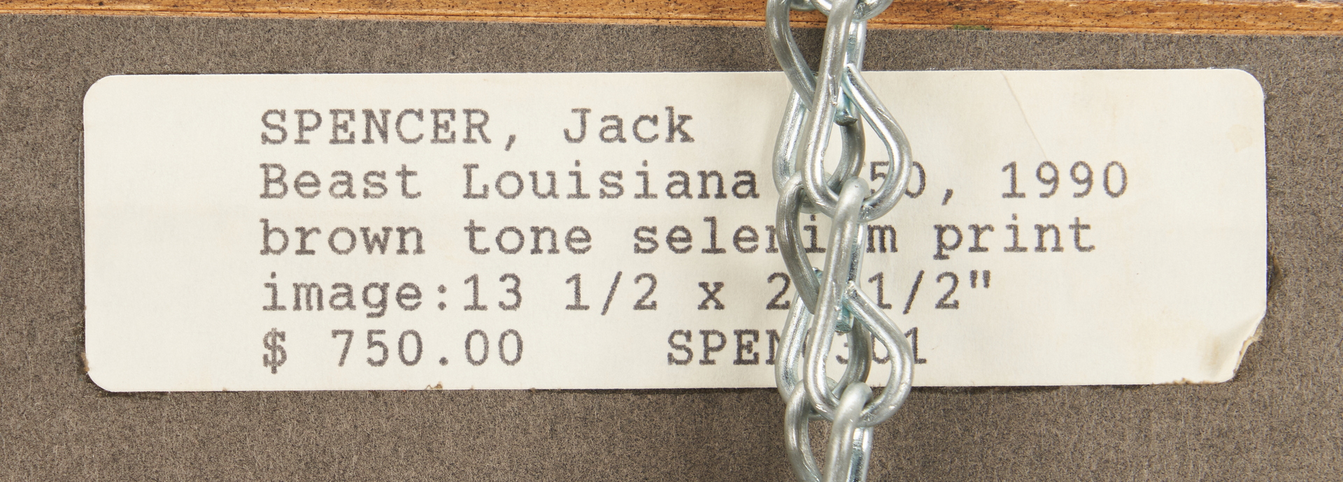 Lot 521: Jack Spencer Photograph, Beast Louisiana