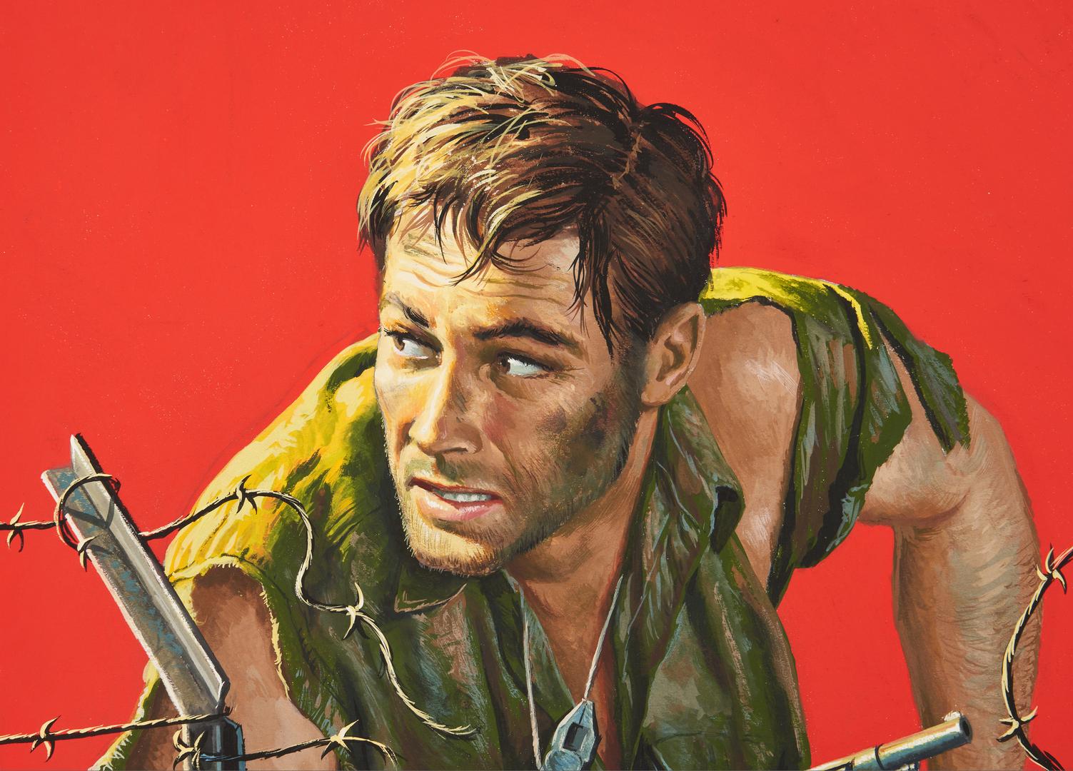 """Lot 530: Mort Kunstler Gouache Illustration, """"The Hunt for Comrade Coudert"""""""