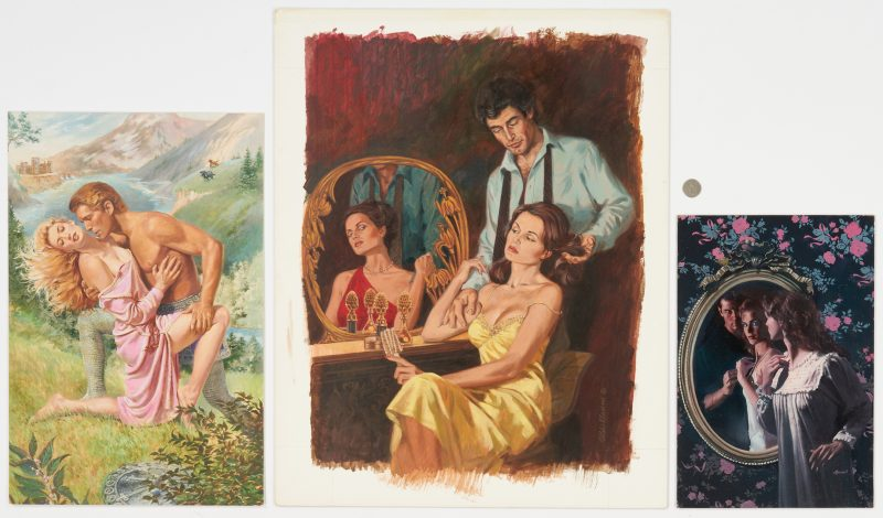Lot 538: 3 Romance Book Cover Illustrations, incl. Ron Lesser