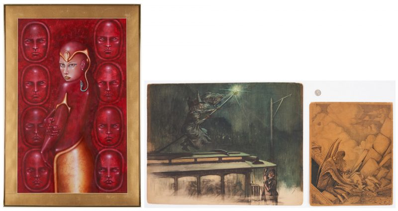 Lot 539: Pulp Fiction Illustration Art and Sci-Fi Painting, 3 pcs