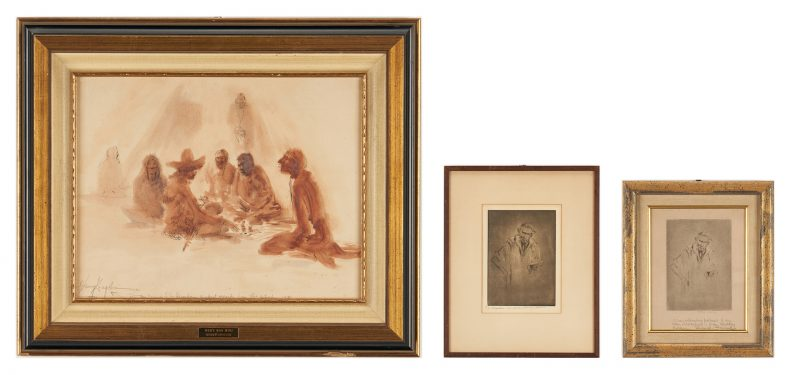 Lot 545: 2 Henry Ziegler Etchings & 1 Drawing