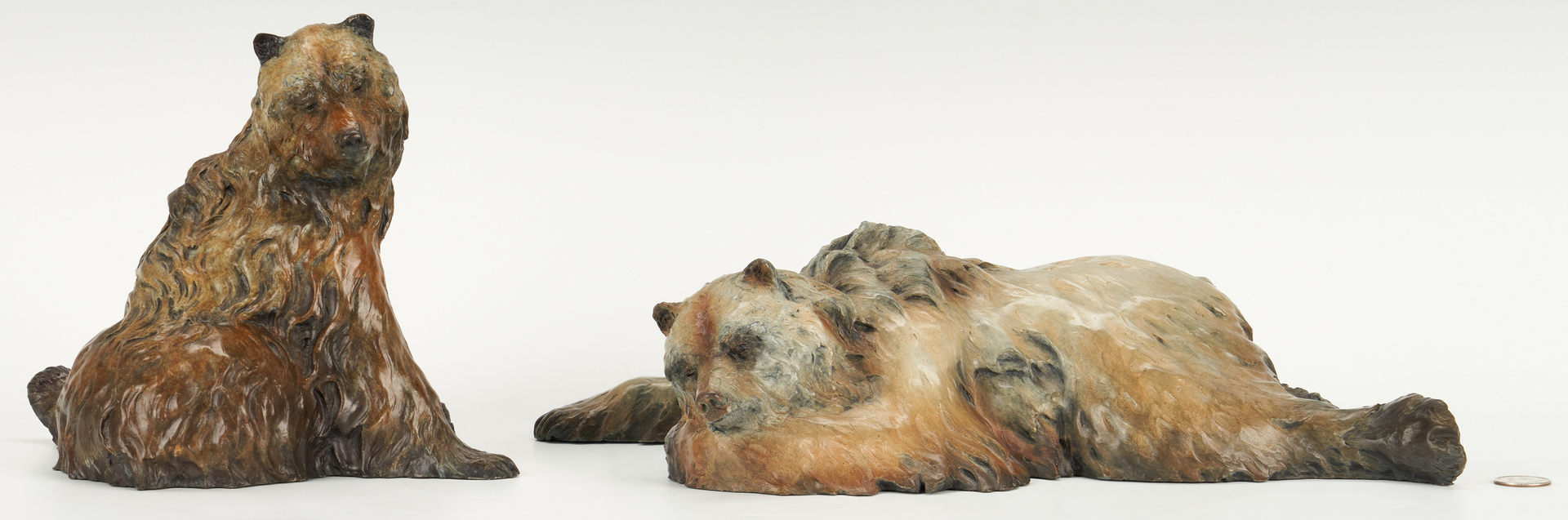 Lot 551: Pr. Jerry McKellar Bronze Bear Sculptures