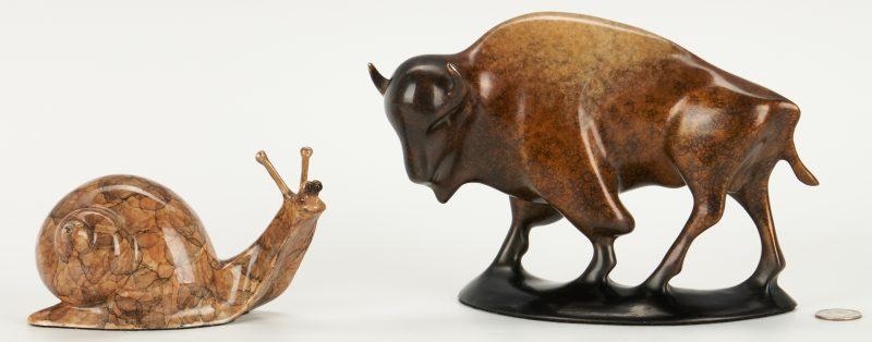 Lot 554: 2 Robert Deurloo Bronze Sculptures, Bison and Snail
