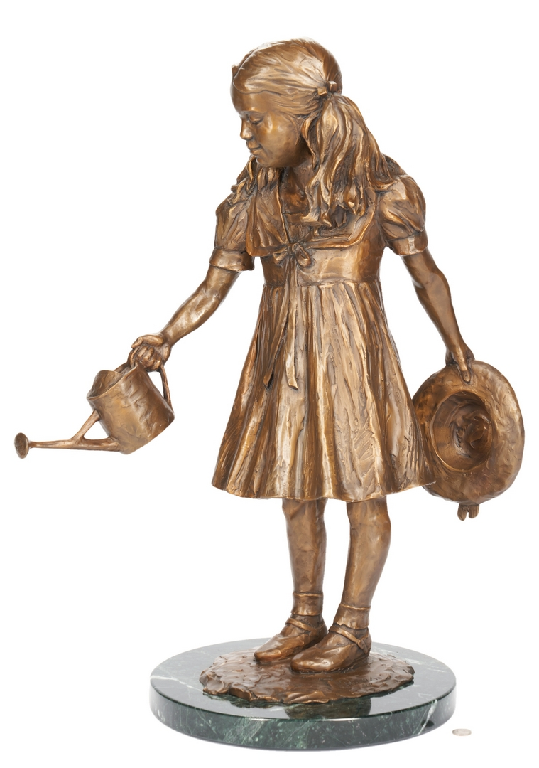 Lot 556: Gary Price Bronze Sculpture, Girl w/ Watering Can