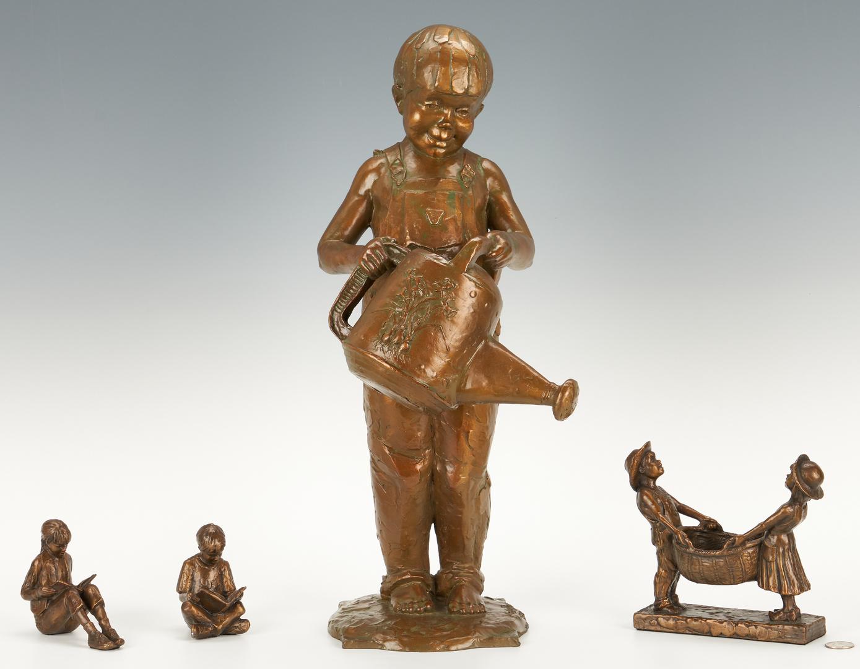 Lot 557: 4 Gary Price Bronze Sculptures of Children