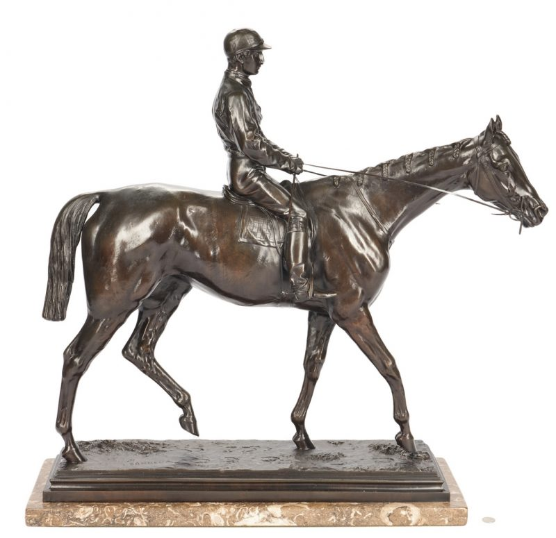 Lot 559: Isidore Bonheur Bronze, Kincsem with Madden Up