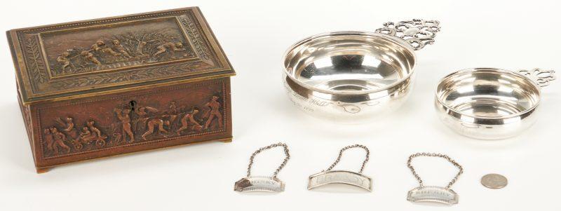 Lot 55: Bronze Box, 2 Sterling Porringers and 3 Liquor Tags