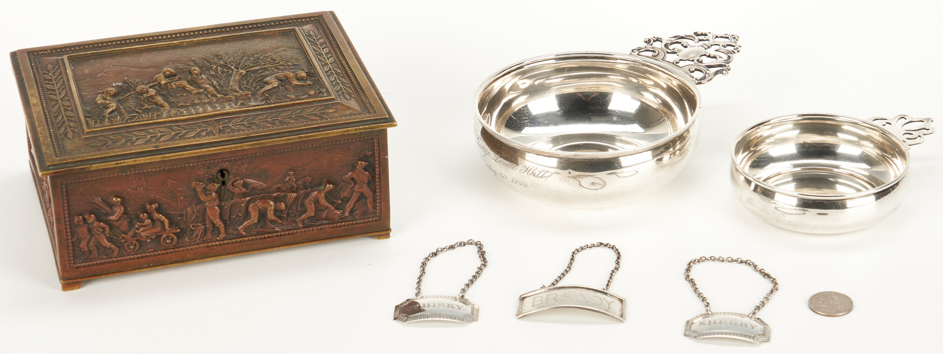 Lot 55: Bronze Box, 2 Sterling Porringers and 3 Liquor Tags