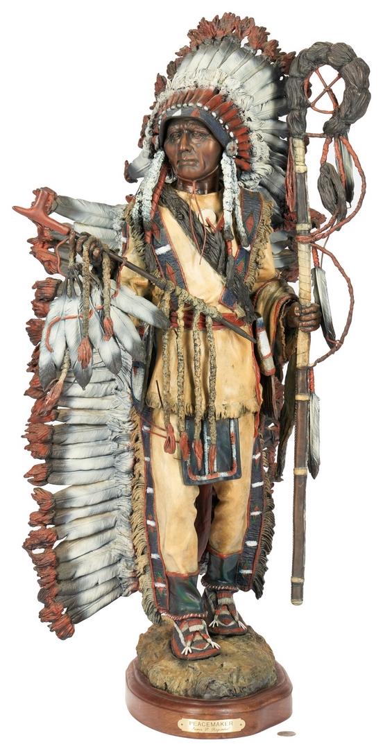 Lot 564: James P. Regimbal Bronze Sculpture, Peace Maker