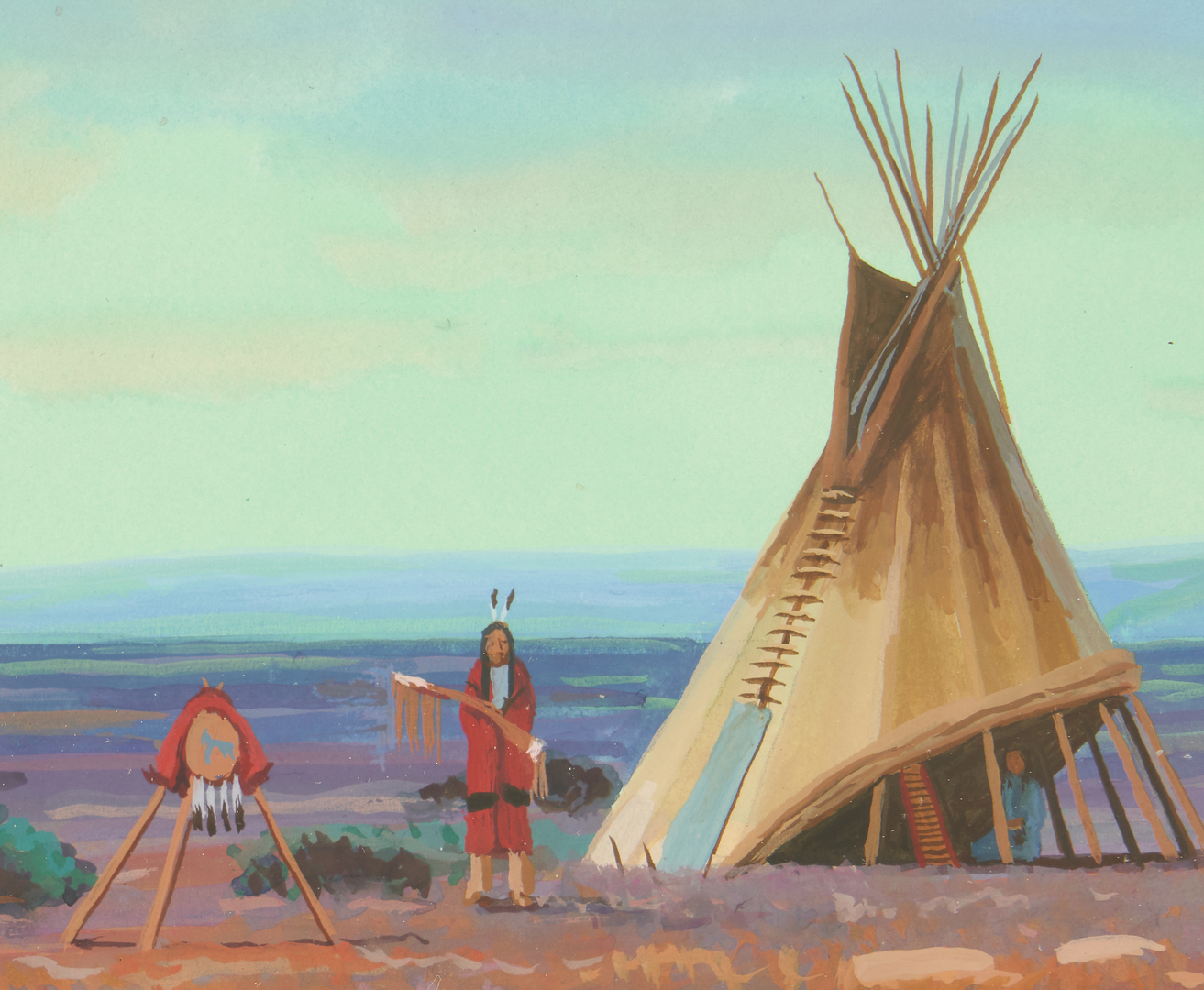 Lot 565: Two (2) Paul Surber Gouache Native American Paintings
