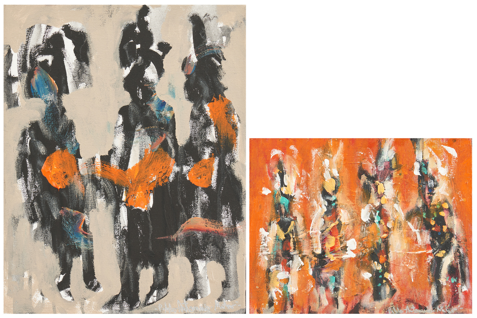 Lot 566: 2 Pablo Milan O/C Paintings, Native American Dancers