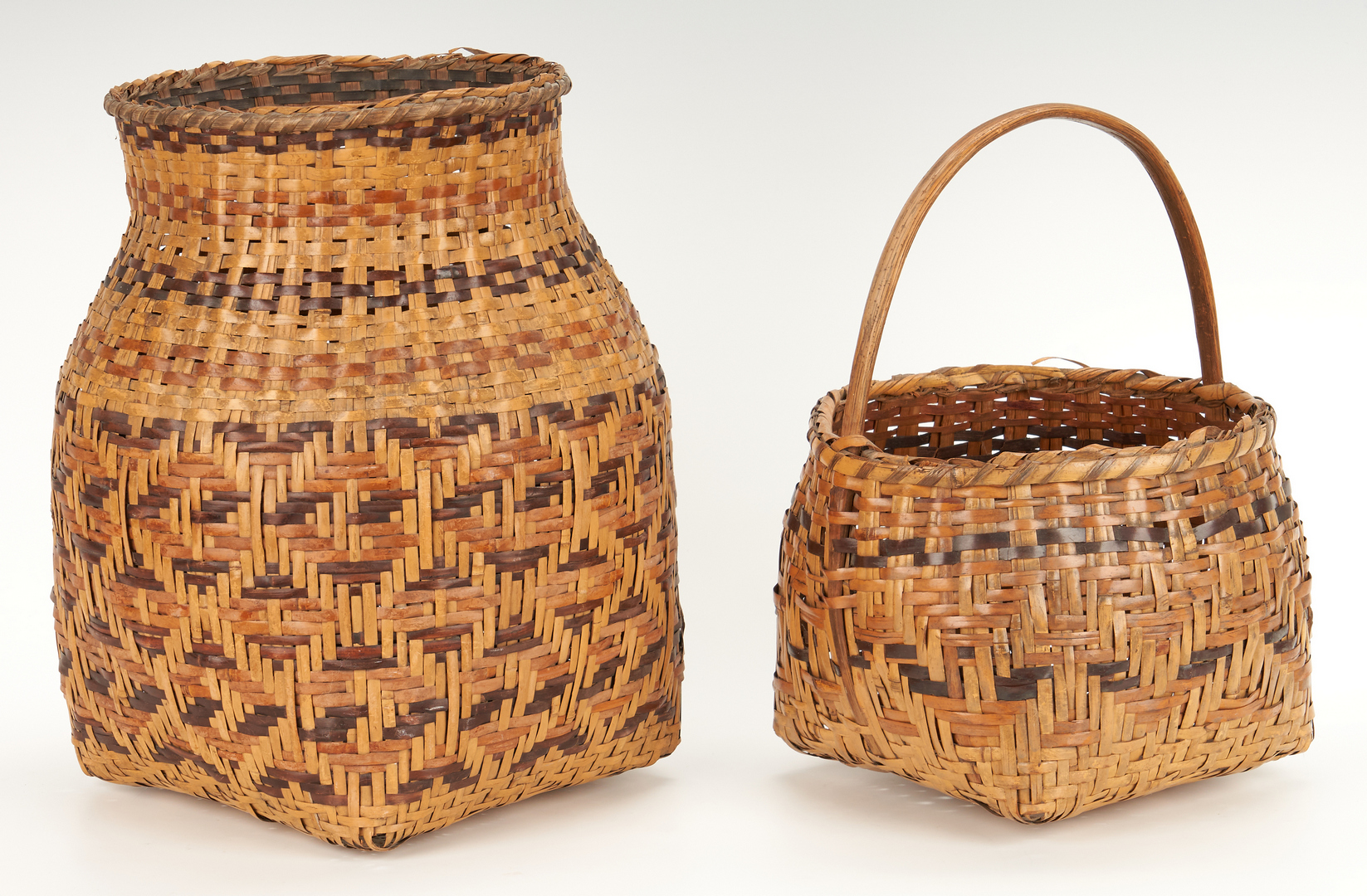 Lot 571: Pair Native American Cherokee Rivercane Baskets