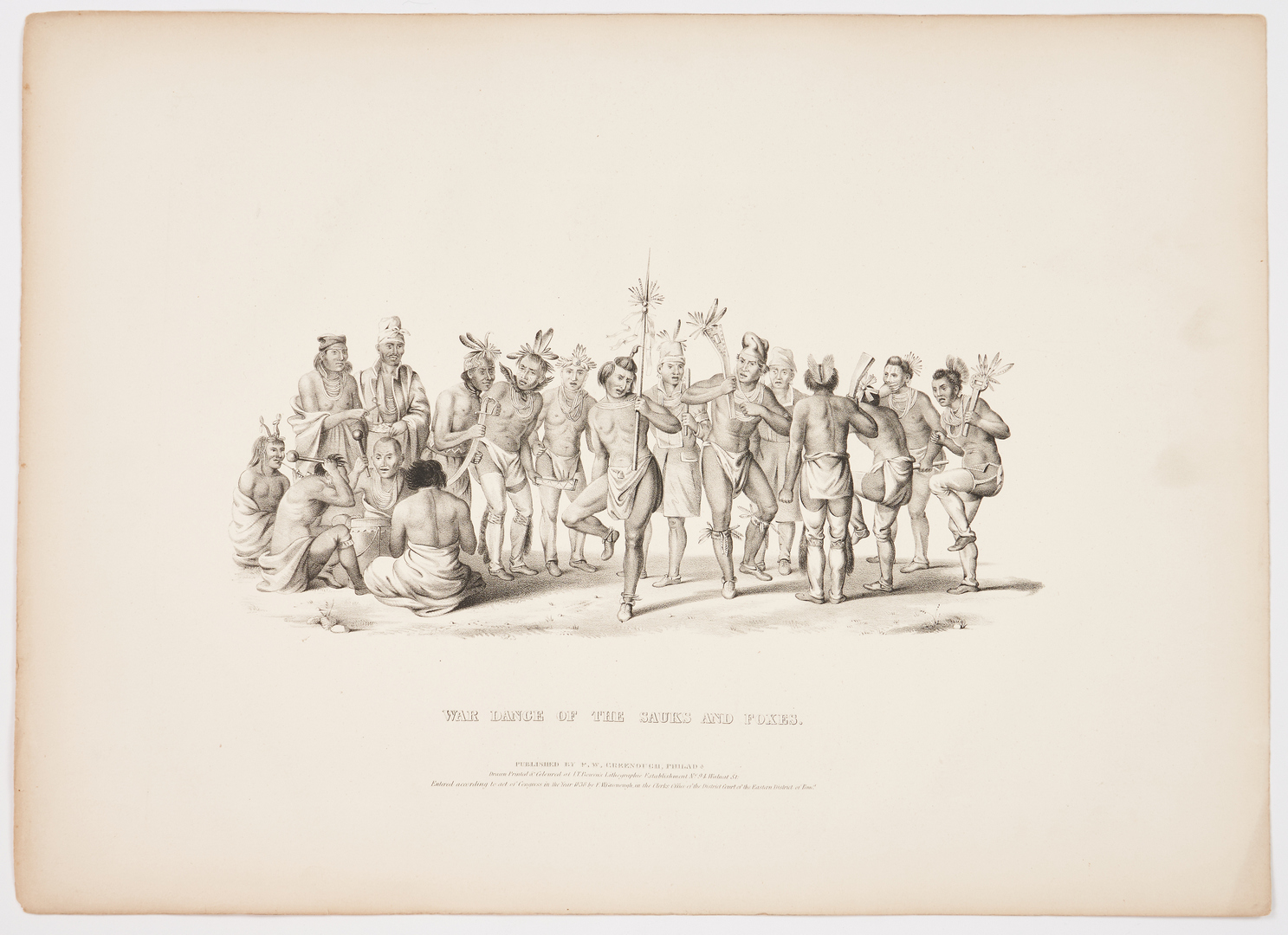 Lot 578: 5 19th C. Lithos. incl. Steamboat Races, Native Americans