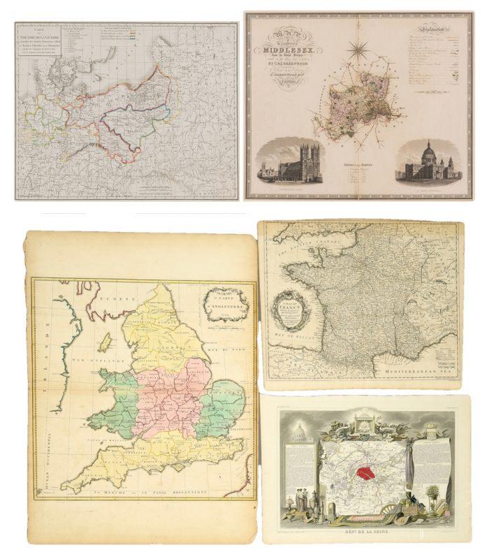 Lot 581: 5 European Maps, incl. Napoleonic Theatre de la Guerre