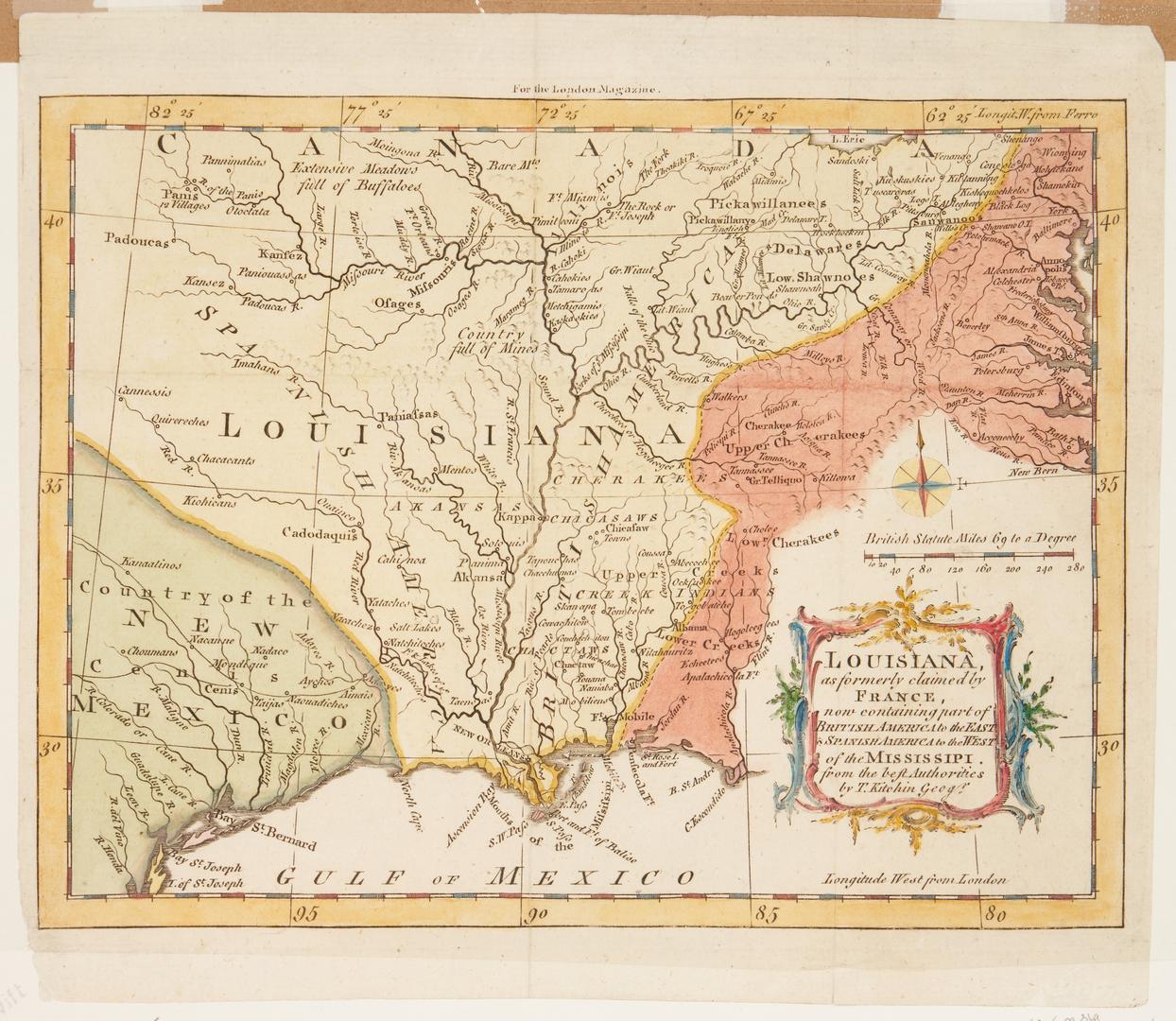 Lot 582: T. Kitchin Louisiana Map, 1765
