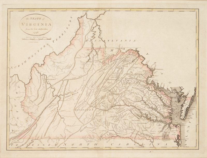 Lot 585: Early Virginia Map, B. Tanner, J. Reid, 1796